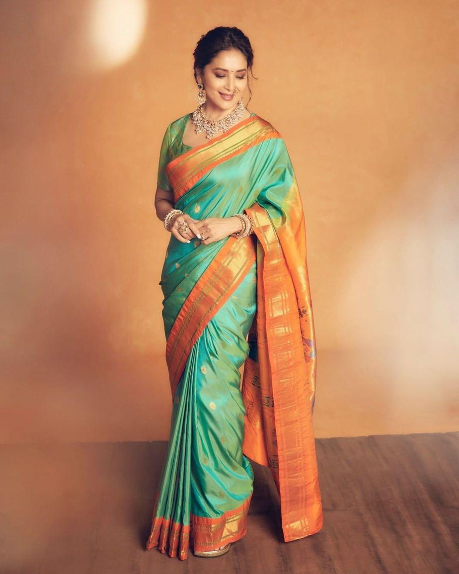 Madhuri Dixit in a green paithani saree by Madhurya creations for dance deewane