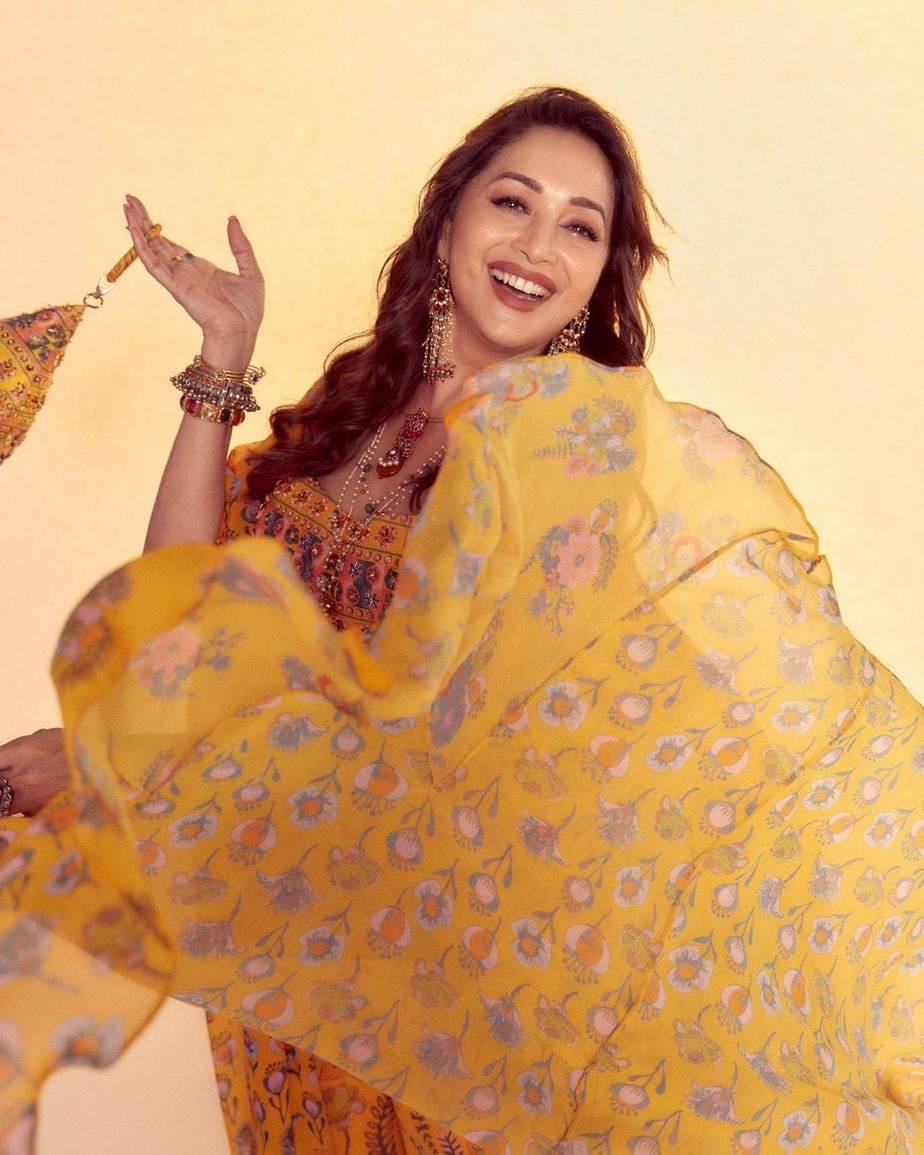 Madhuri Dixit in a yellow cape set by Diya Rajvvir for Dance deewane-1