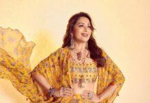 Madhuri Dixit in a yellow cape set by Diya Rajvvir for Dance deewane-3