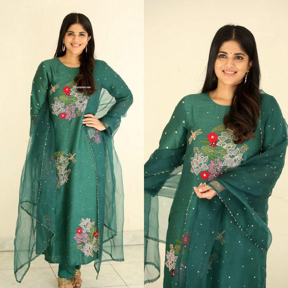 Megha Akash in a forest green kurta set by Tavare clothing for dear megha thanks meet-1