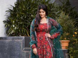 Megha Akash in a geethika Kanumili red floral anarkali for dear megha-1