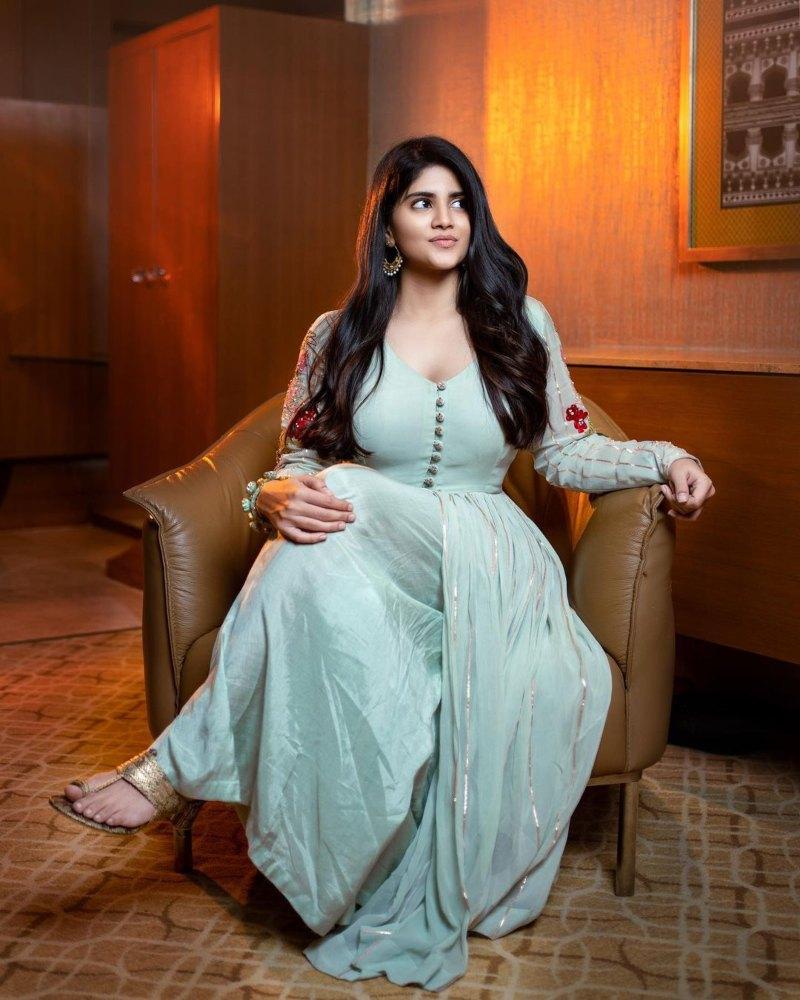 Megha Akash in a ice blue anarkali by Taavare for dear megha promotions-1