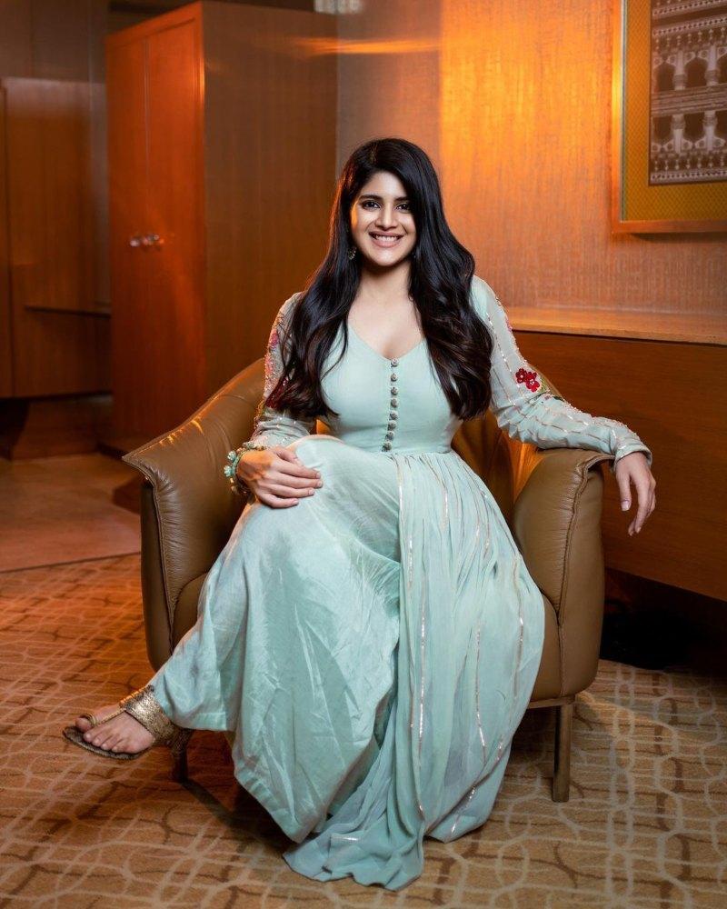 Megha Akash in a ice blue anarkali by Taavare for dear megha promotions