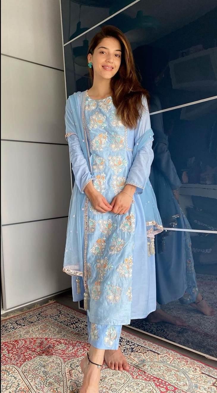Mehreen Pirzada in powder blue kurta set by akat