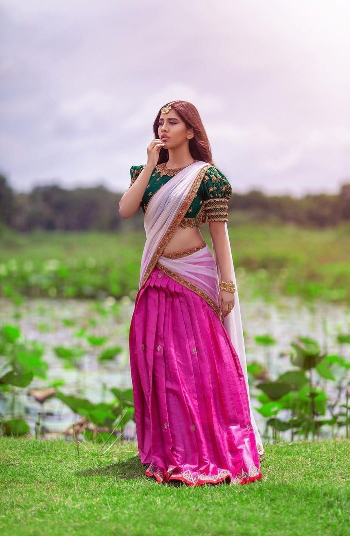 Nabha Natesh in pink half saree by Mahitha Prasad-1