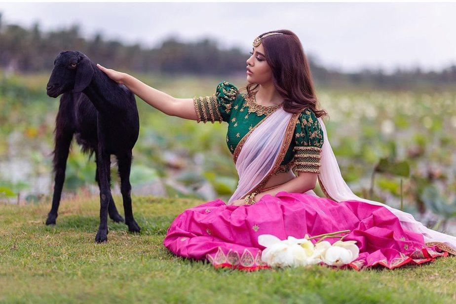 Nabha Natesh in pink half saree by Mahitha Prasad-2