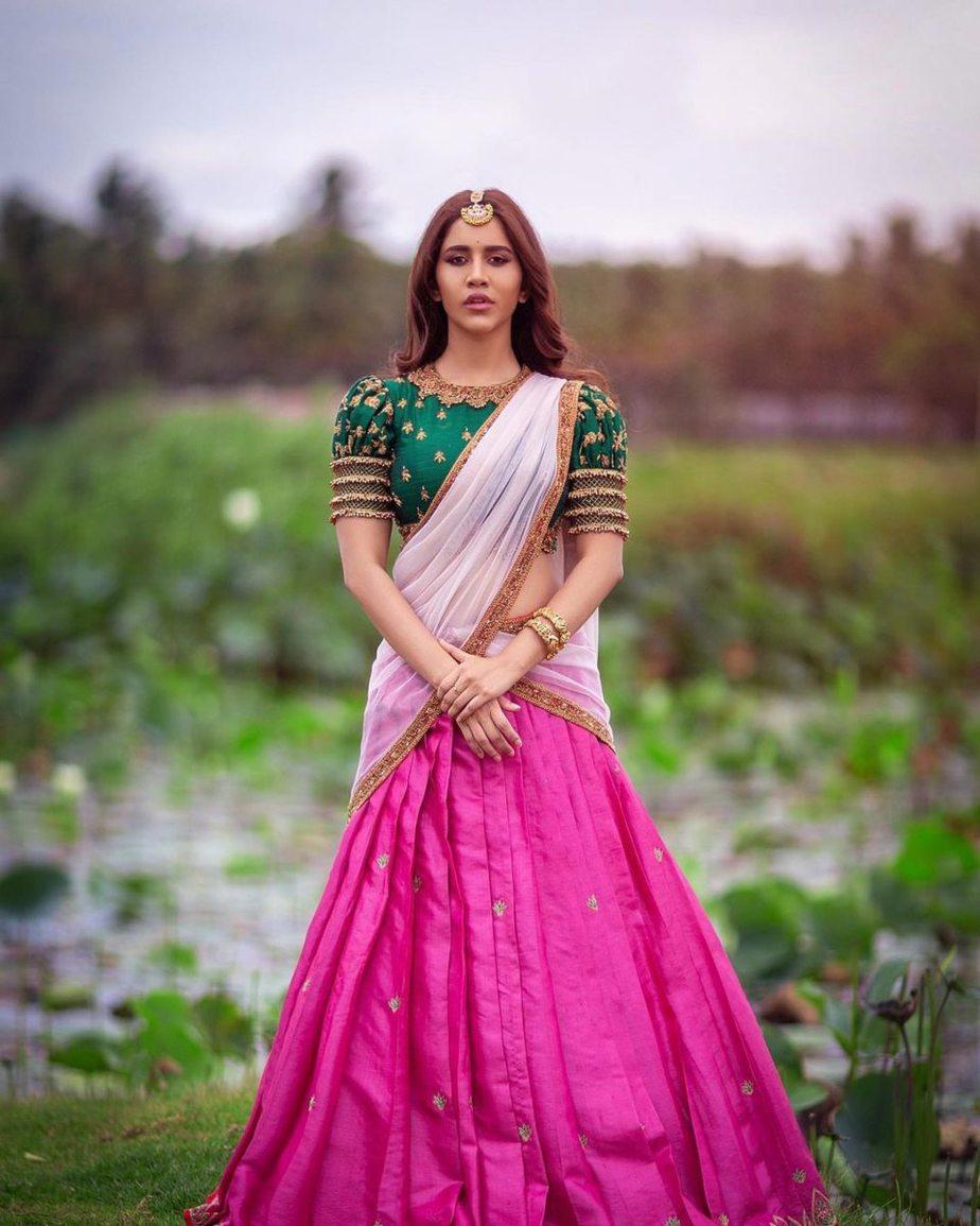 Nabha Natesh in pink half saree by Mahitha Prasad