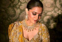 Nisha Aggarwal in a mustard lehnga set by Jayanti Reddy-1