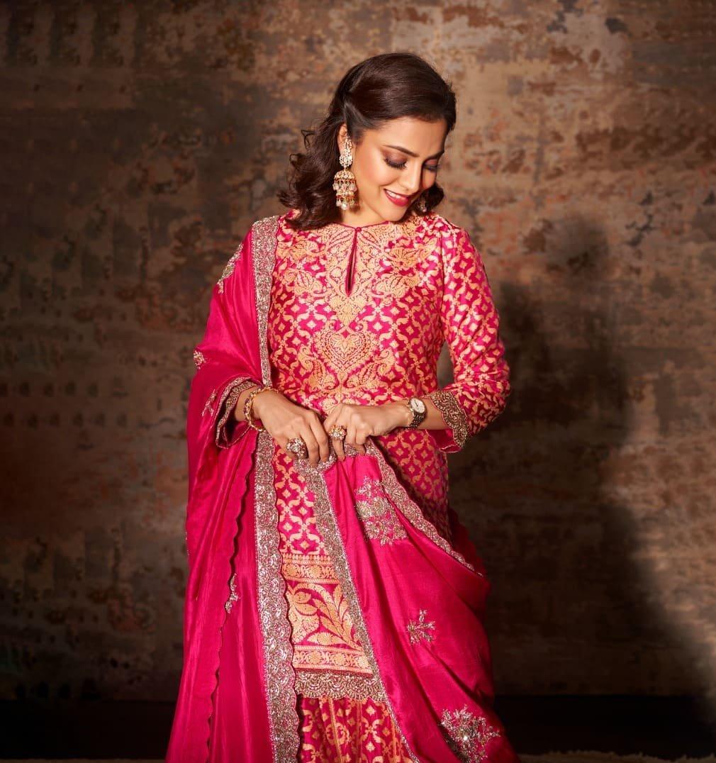 Nisha Aggarwal in a pink kurta set by Jayanti Reddy Label