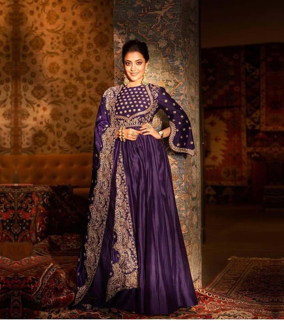 Nisha Aggarwal in purple jayanti Reddy anarkali set-1