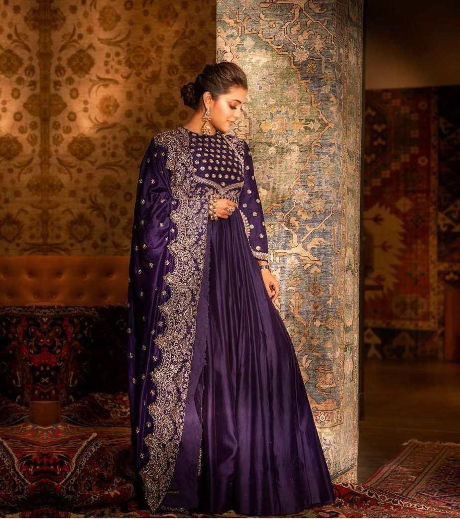 Nisha Aggarwal in purple jayanti Reddy anarkali set-2