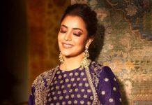 Nisha Aggarwal in purple jayanti Reddy anarkali set-3