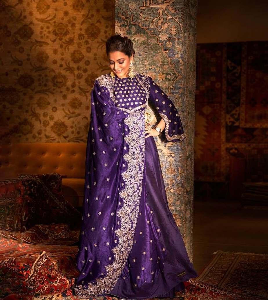 Nisha Aggarwal in purple jayanti Reddy anarkali set