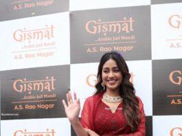 Nivetha Pethuraj in a maroon kurta set at a restaurant opening
