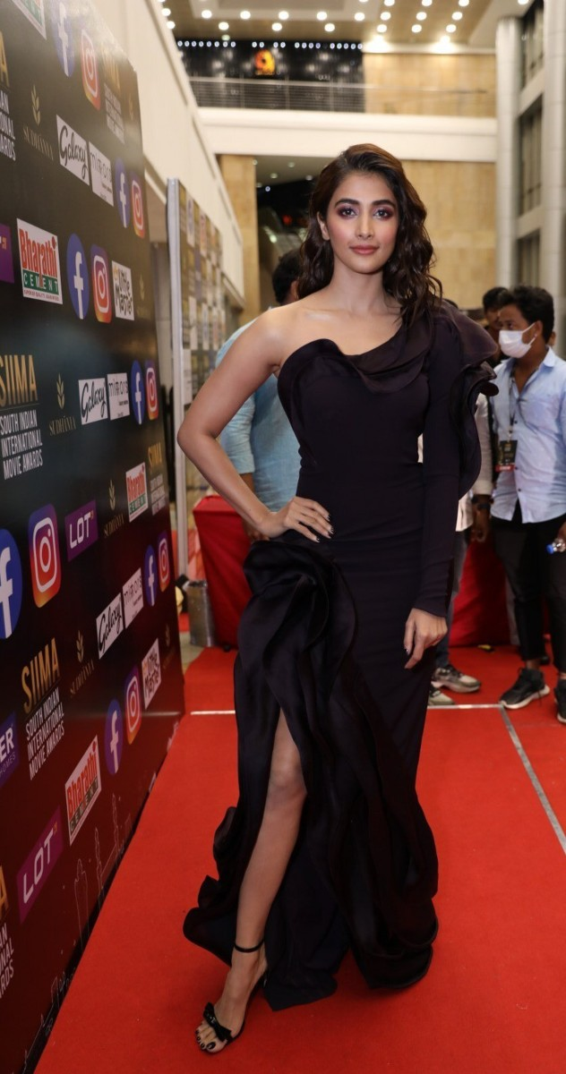 Pooja Hegde in a black gown for SIIMA-2021