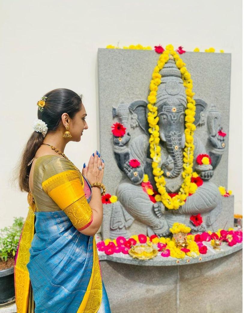 Pritha Hari in a sky blue pattu saree for Ganesh Chaturthi-1