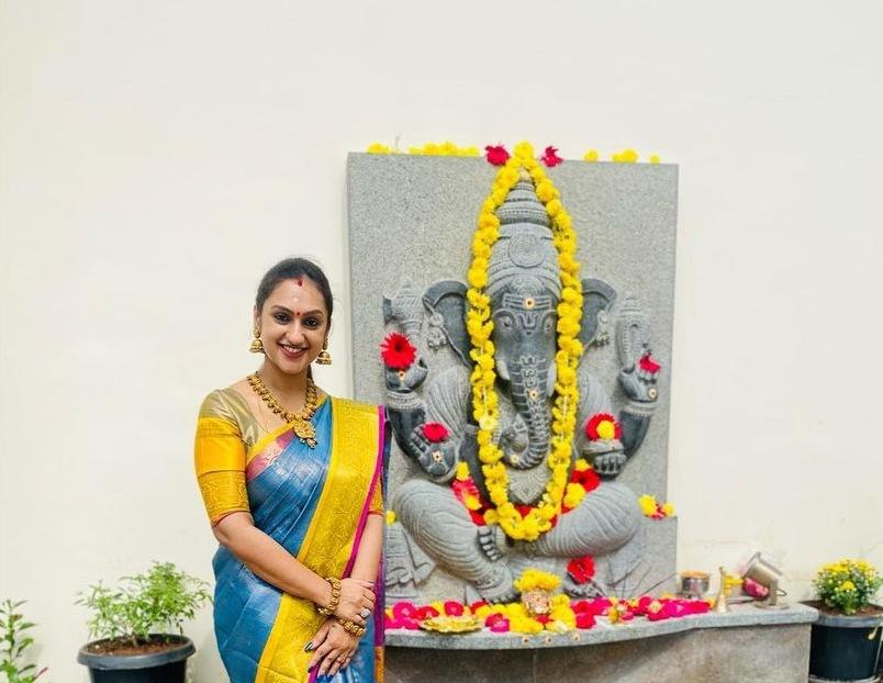 Pritha Hari in a sky blue pattu saree for Ganesh Chaturthi-2