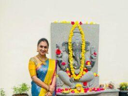 Pritha Hari in a sky blue pattu saree for Ganesh Chaturthi