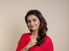 Priya Bhavani Shankar in a red shilpasutra anarkali -1