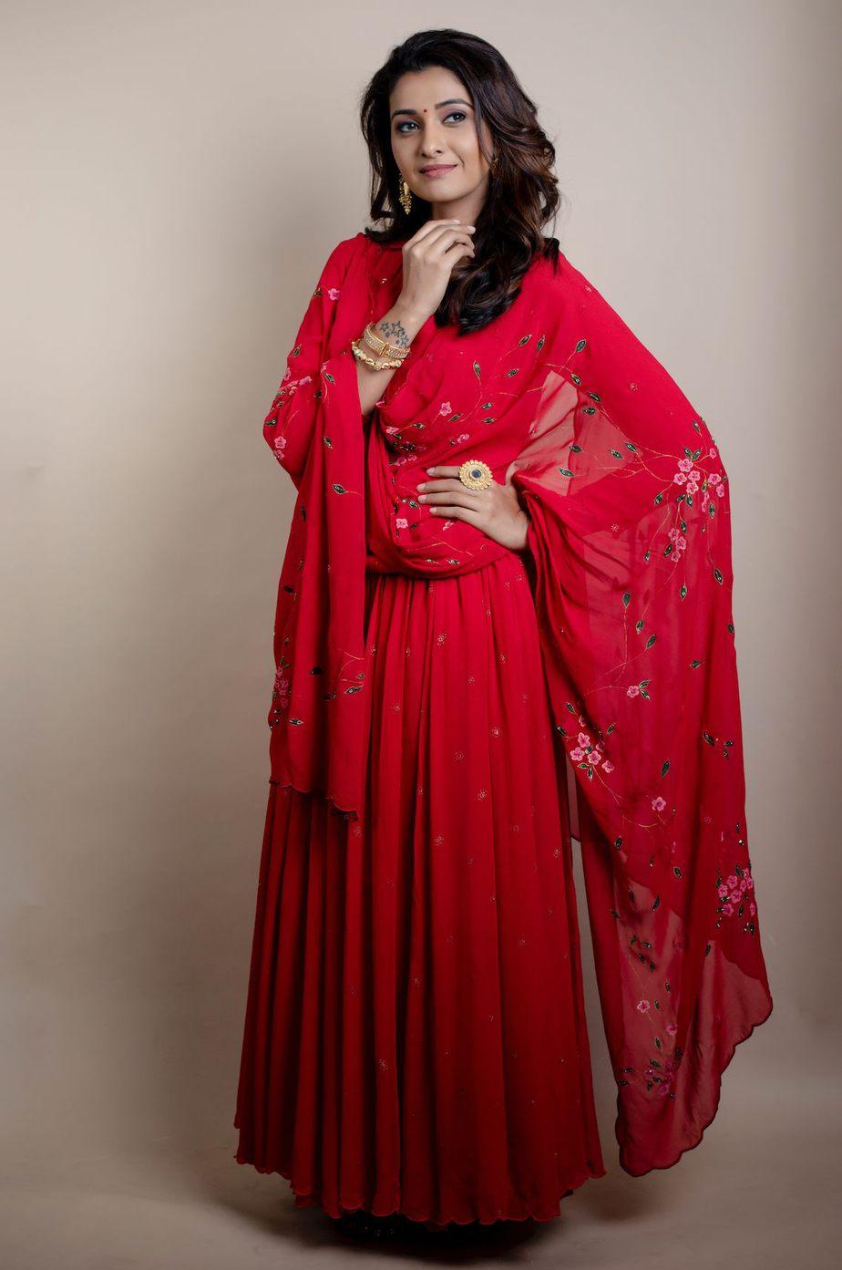 Priya Bhavani Shankar in a red shilpasutra anarkali -2