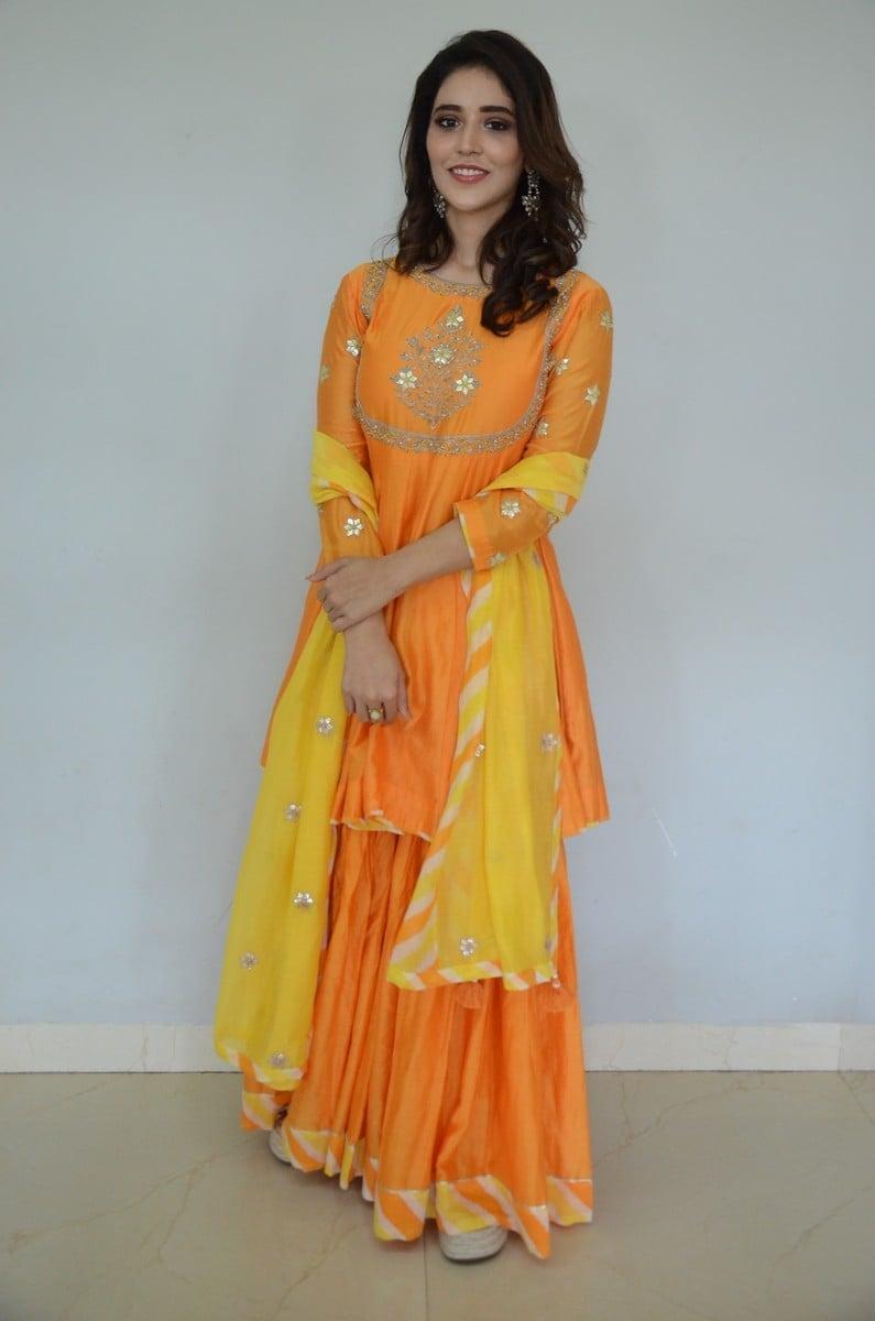 Priyanka Jawalkar in an orange sharara set for gamanam movie press meet-1