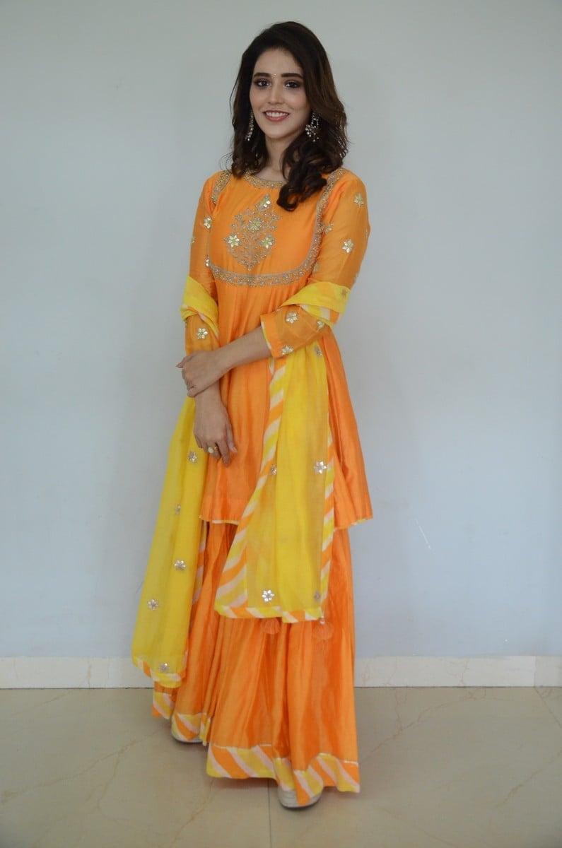 Priyanka Jawalkar in an orange sharara set for gamanam movie press meet-2
