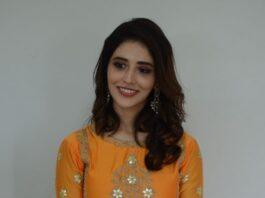 Priyanka Jawalkar in an orange outfit for gamanam movie press meet-3