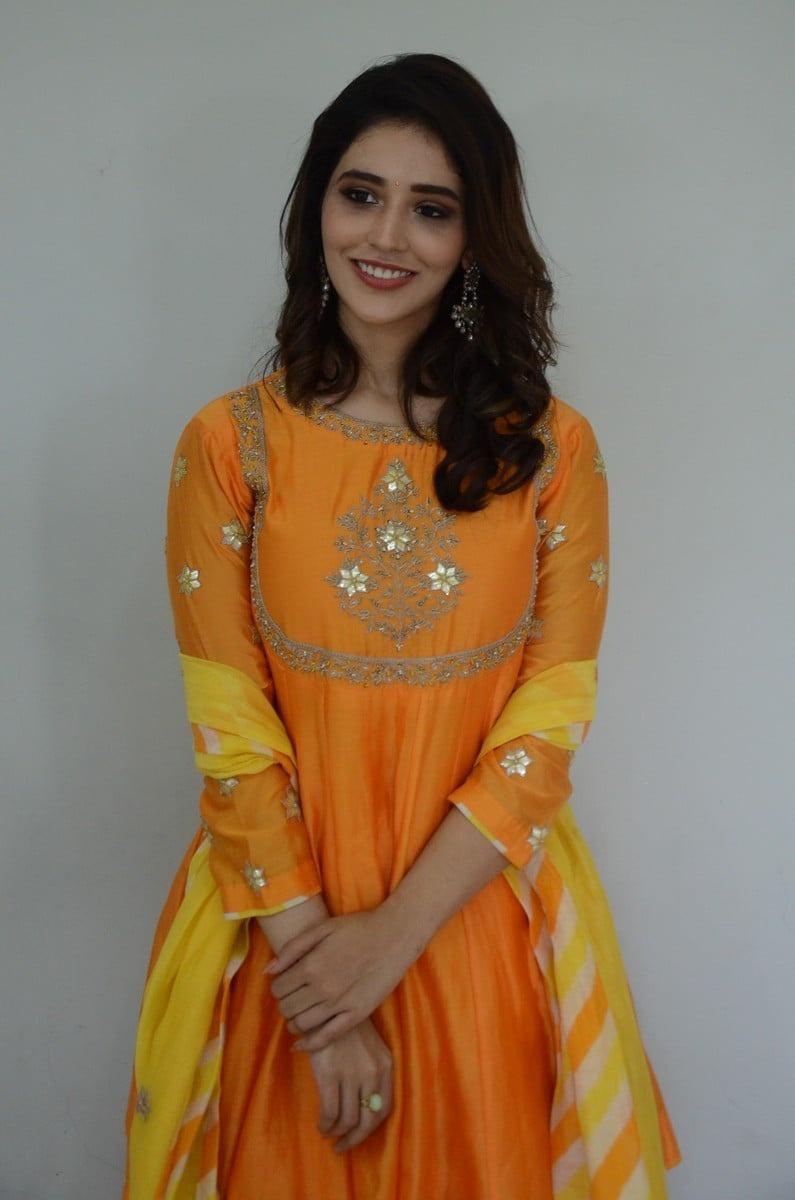 Priyanka Jawalkar in an orange sharara set for gamanam movie press meet-3