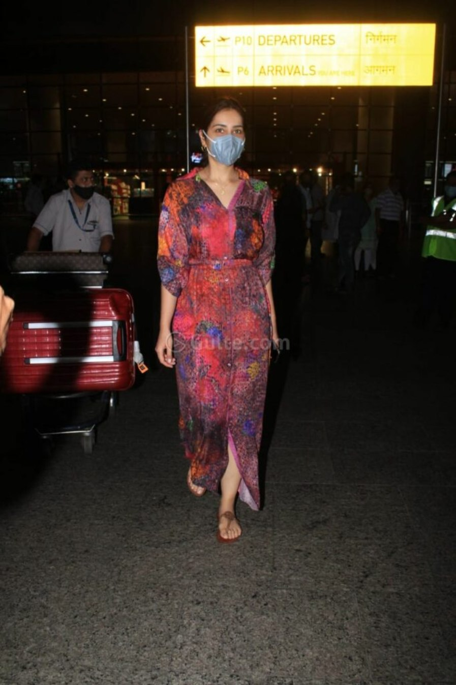 Raashi Khanna in multi coloured maxi dress at the airport