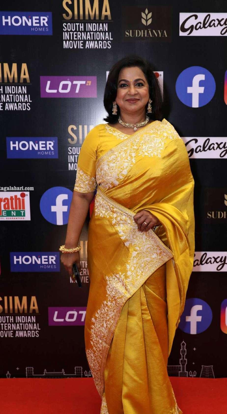 Radikaa Sarathkumar in a yellow saree for SIIMA2021-2