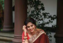 Ramya Nambessan in a brown saree by minka-1