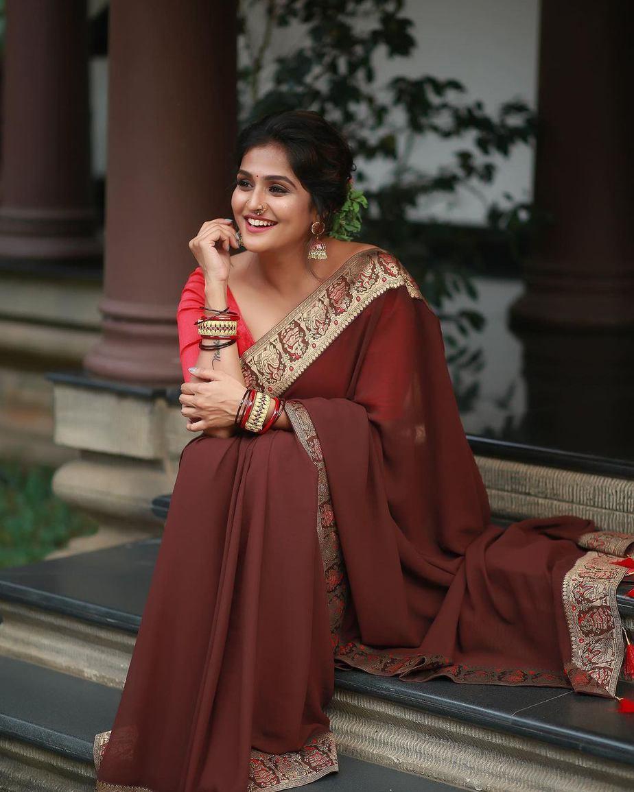 Ramya Nambessan in a brown saree by minka-2