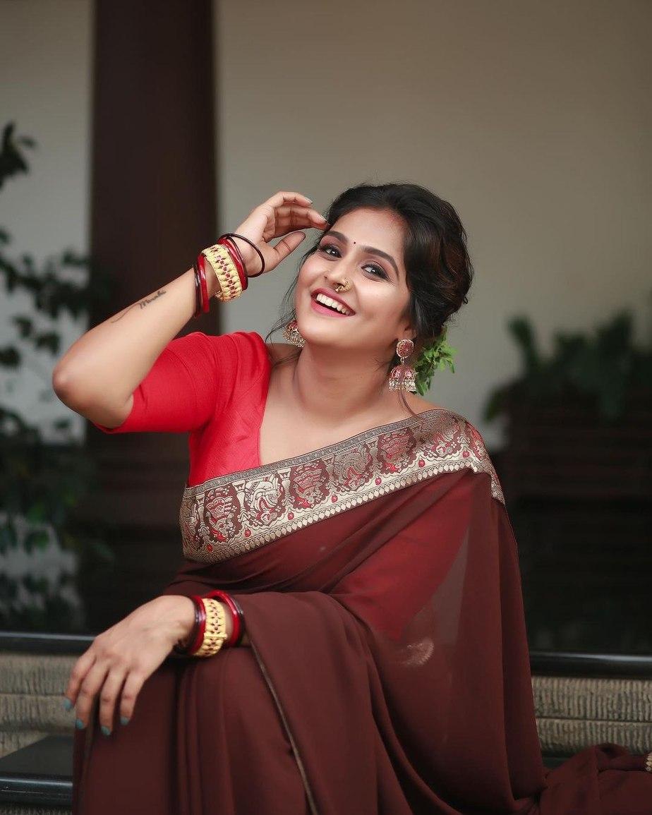 Ramya Nambessan in a brown saree by minka-3