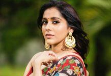 Rashmi Gautam in a beige traditional saree -4