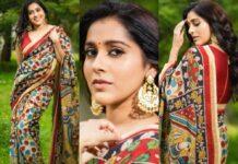 Rashmi Gautam in a beige traditional saree -featured