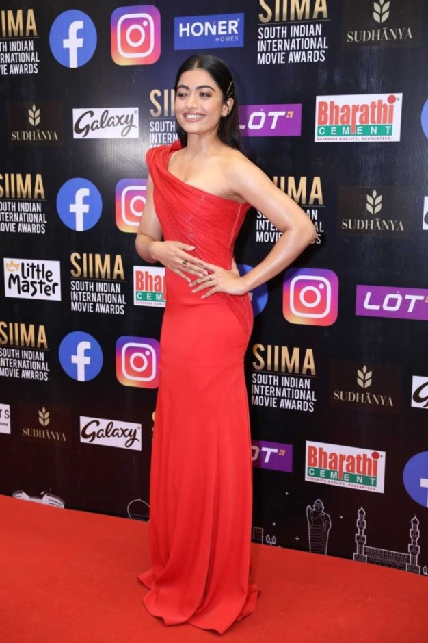 Rashmika Mandanna in a red gown for SIIMA-2021-1.3
