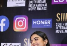 Rashmika Mandanna in a red gown for SIIMA-2021-2