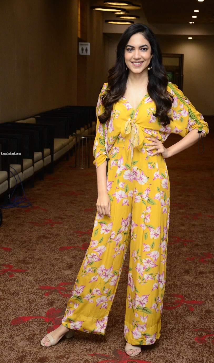 Ritu Varma in a yellow jumpsuit for Tuck Jagadish promotions-2