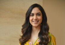Ritu Varma in a yellow jumpsuit for Tuck Jagadish promotions