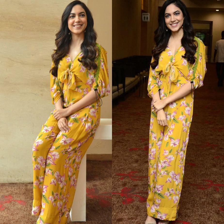 Ritu Varma in a yellow jumpsuit for Tuck Jagadish promotions-3
