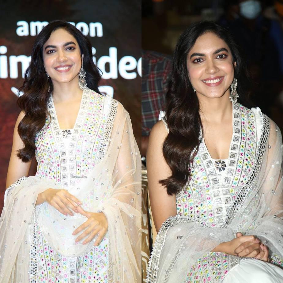 Ritu varma in white pernia's pop outfit for tuck jagadish trailer release-3
