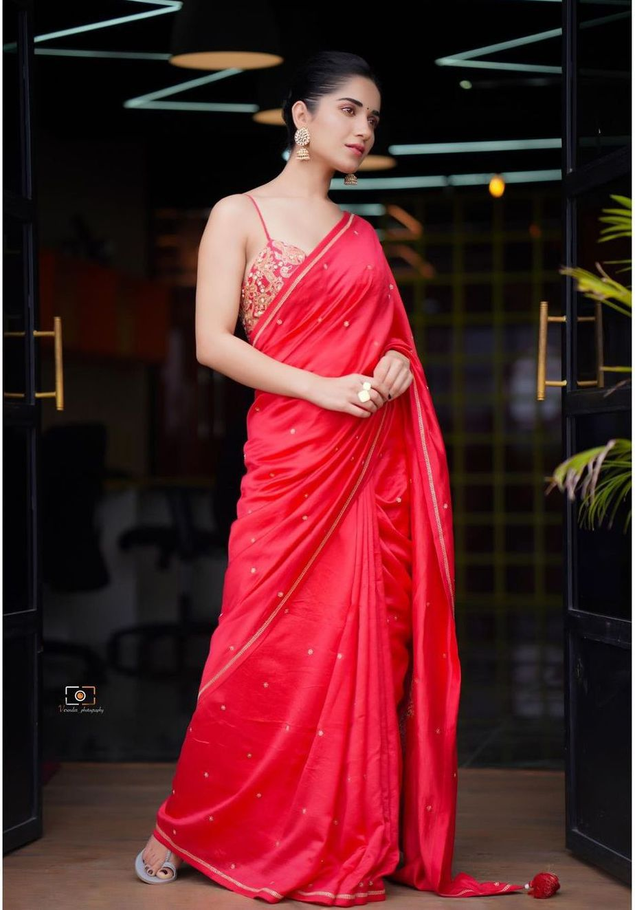 Ruhani Sharma in a red saree by Deepthee