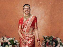 Samantha Akkineni in a red benarasi saree by mavuris for colgate ad-2