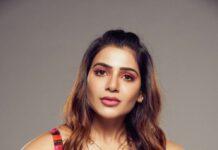 Samantha Akkineni in saaksha and kinni bustier and palazzos for a photoshoot