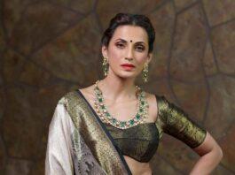 Shilpa Reddy in a black and white benrasi saree by Kanchi silks-1