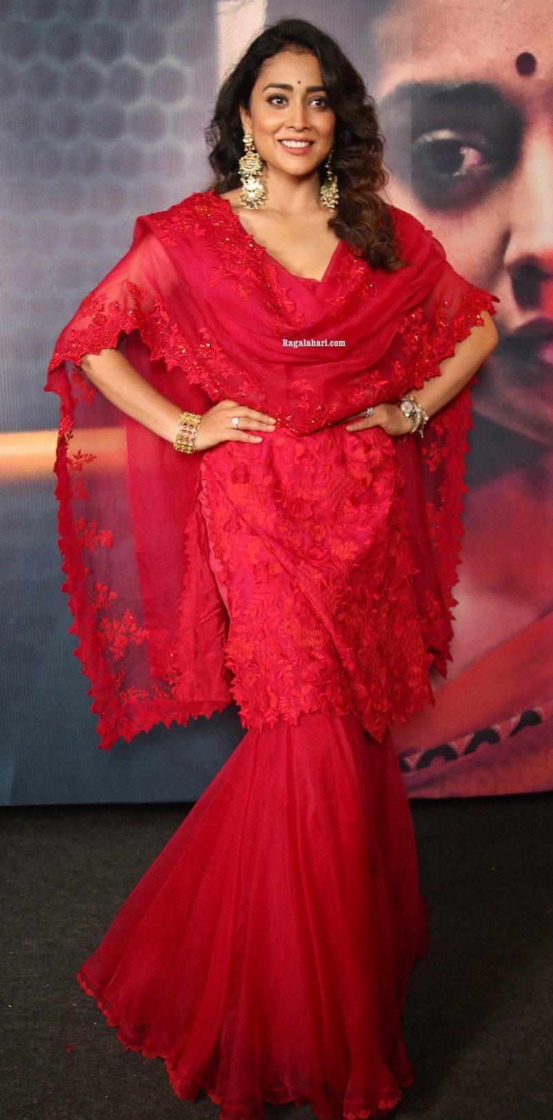 Shriya Saran in a red sharara set for gamanam press meet-1