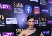Shruti Hassan in black Gaurav Gupta saree gown for SIIMA