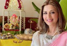 Sonali Bendre in pink Anavila saree for Ganesh chaturthi-2