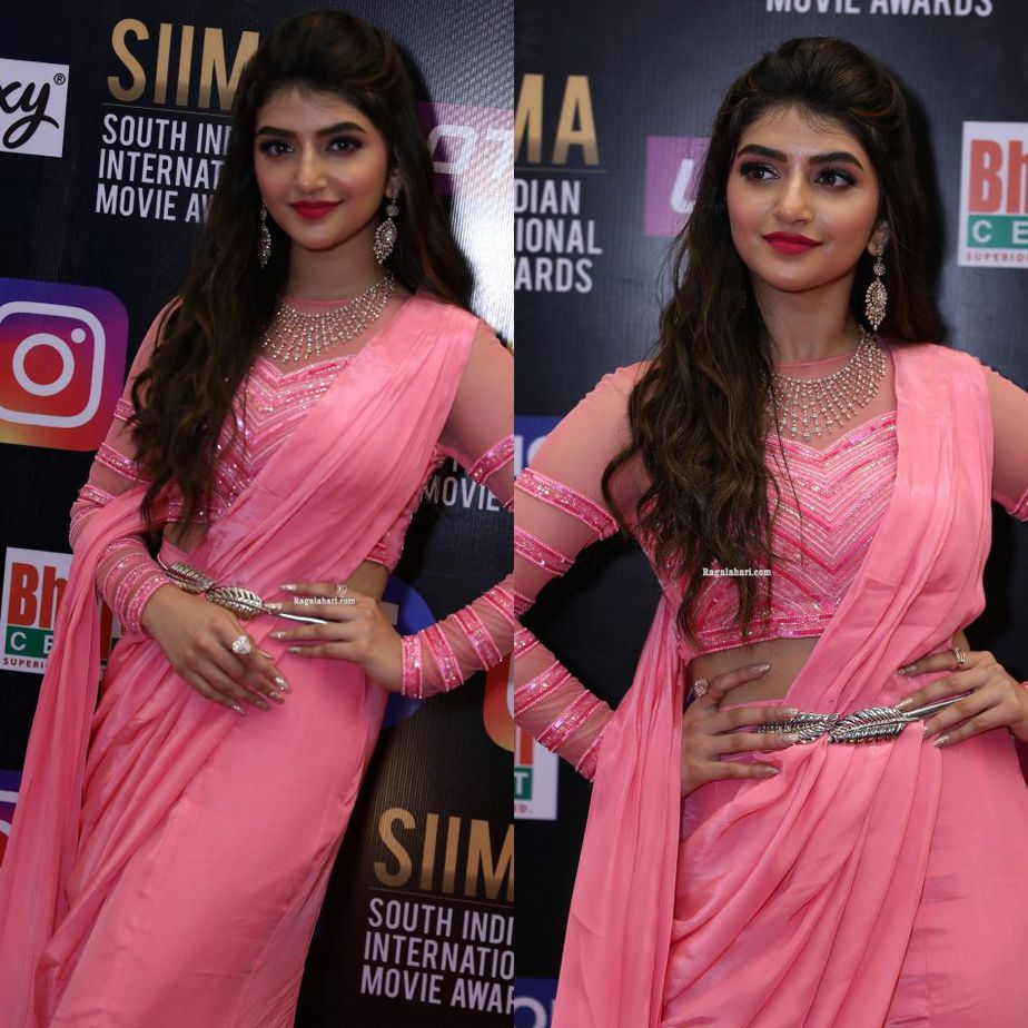 Sreeleela in a pink outfit at SIIMA 2021-2