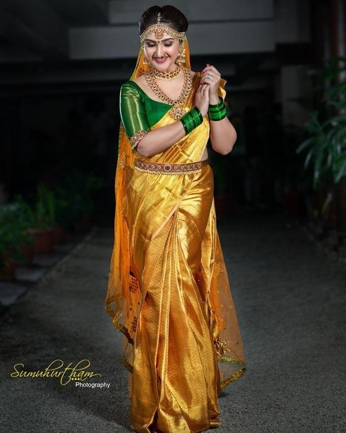 Sridevi Vijaykumar in agold pattu saree by Mugdha art studio for comedy stars